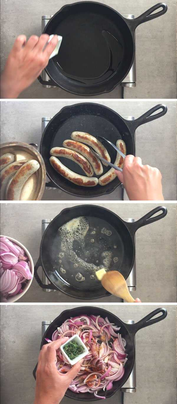 How to cook brats in beer - step by step image grid part 1