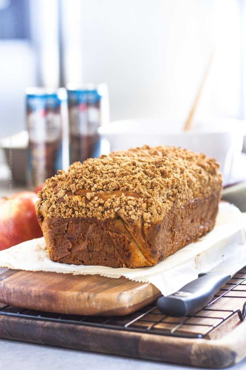 Freshly baked apple bread loaf.