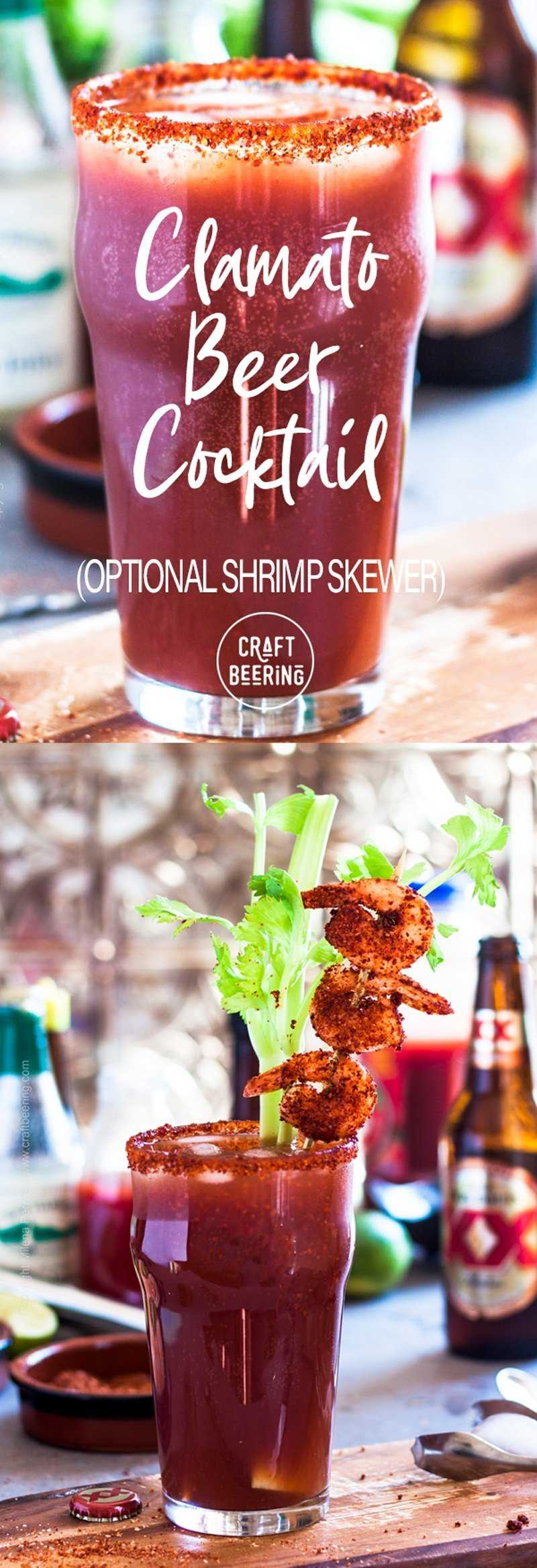 Clamato and beer - refreshing cocktail with optional shrimp skewer