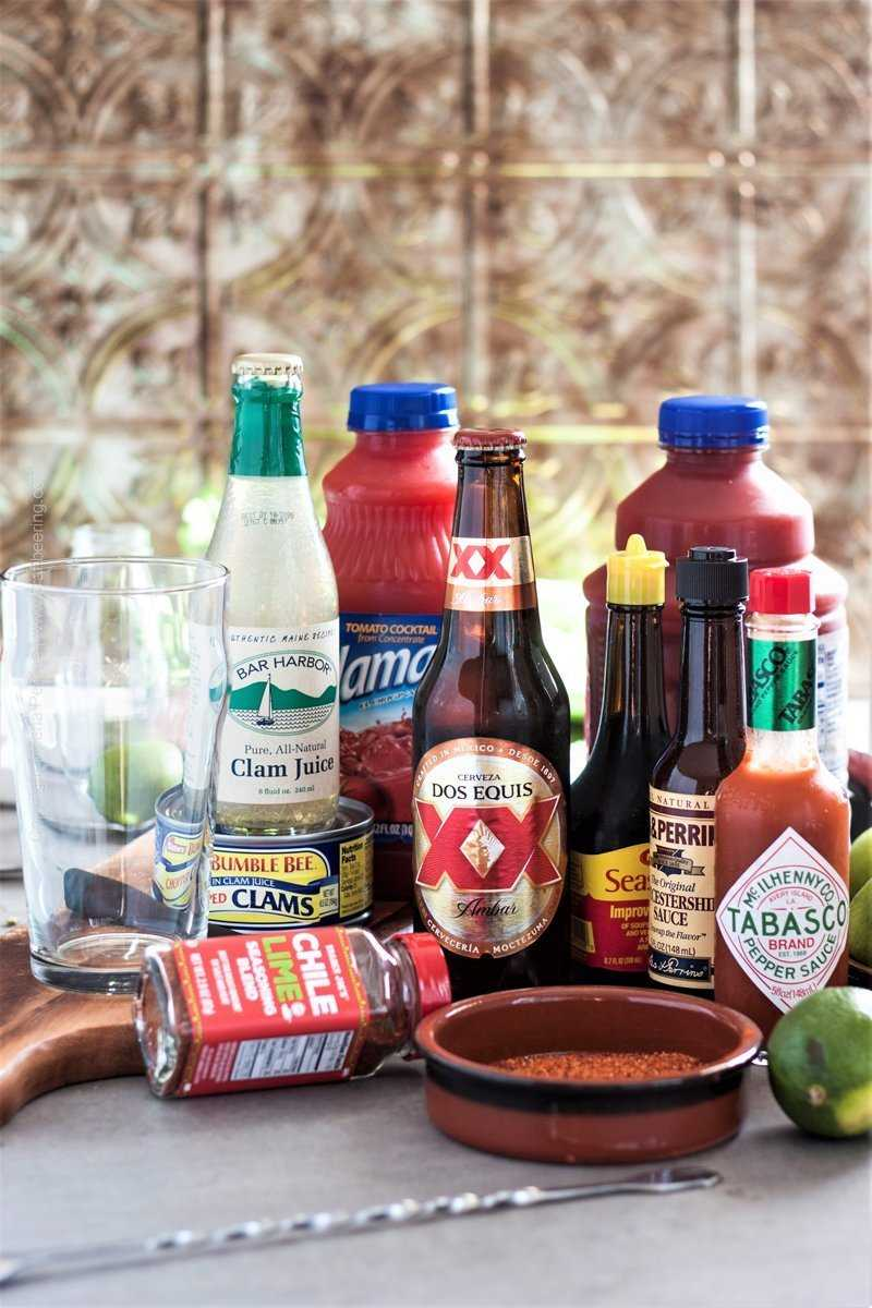 Ingredients for Clamato beer cocktail