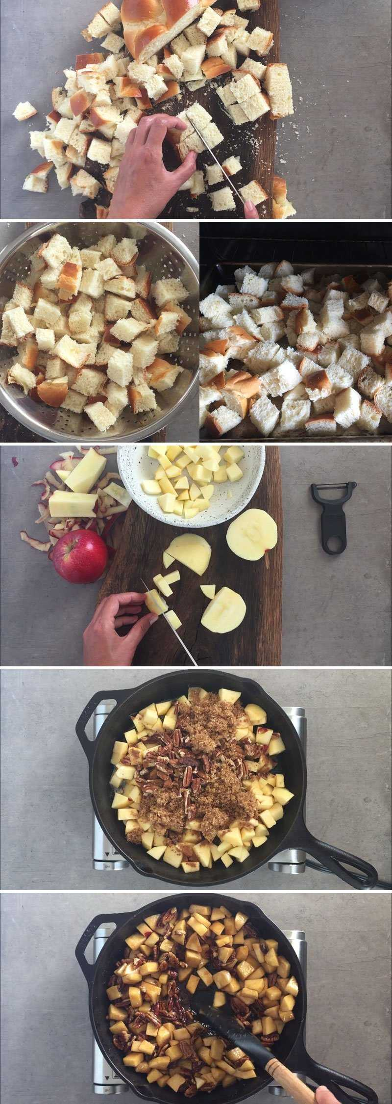 Preparation steps in the workflow of making apple bread pudding.