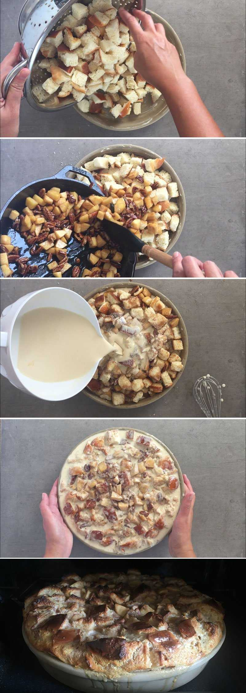 How to assemble the apple bread pudding