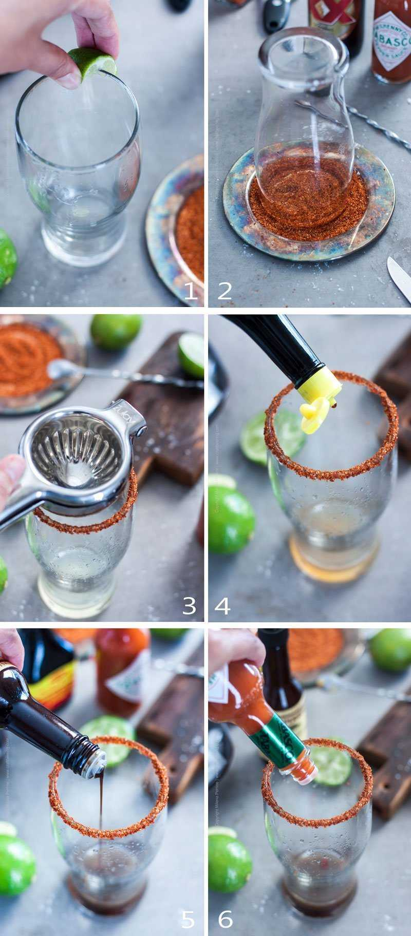 Step by step making an Michelada.