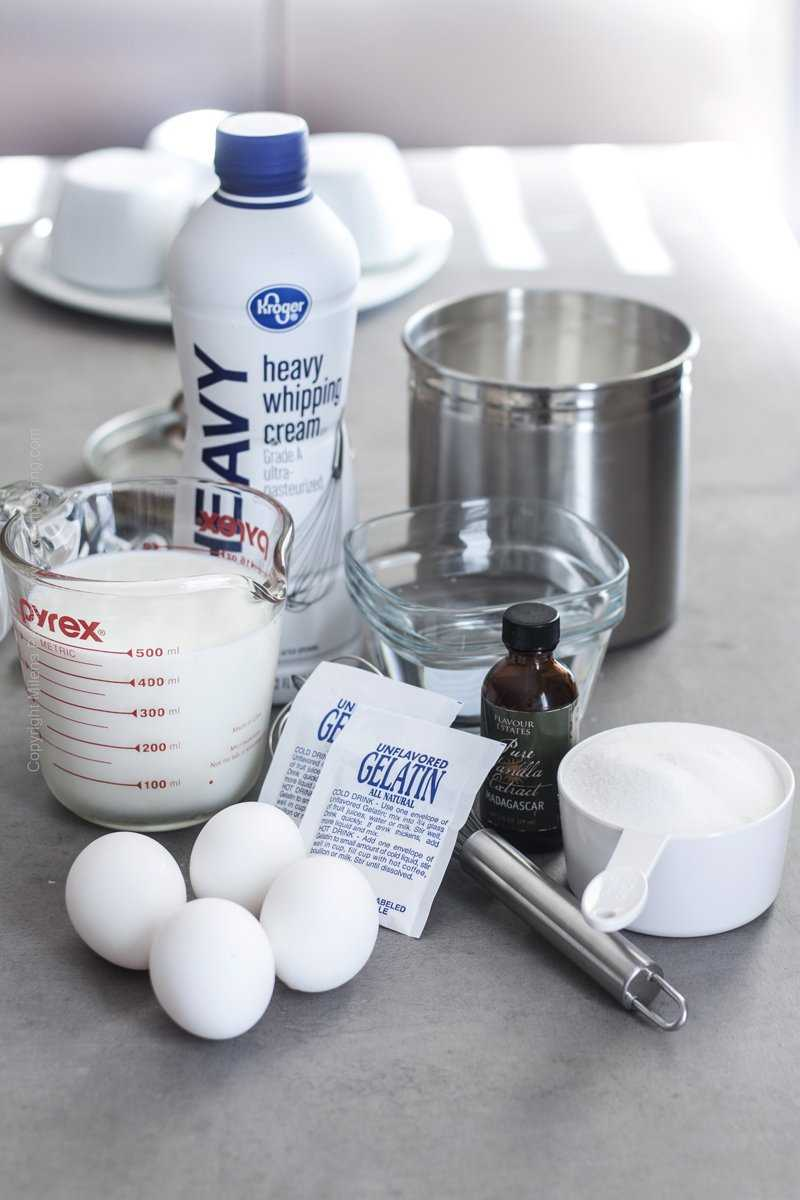 Few simple ingredients needed to make Bavarian cream.