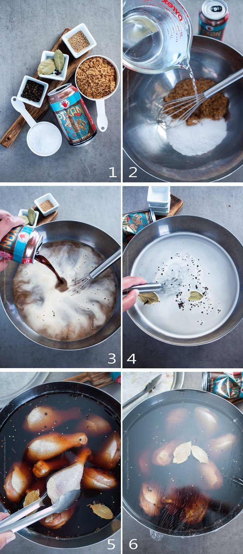 Step by step image grid showing how to make a brine for chicken drumsticks.