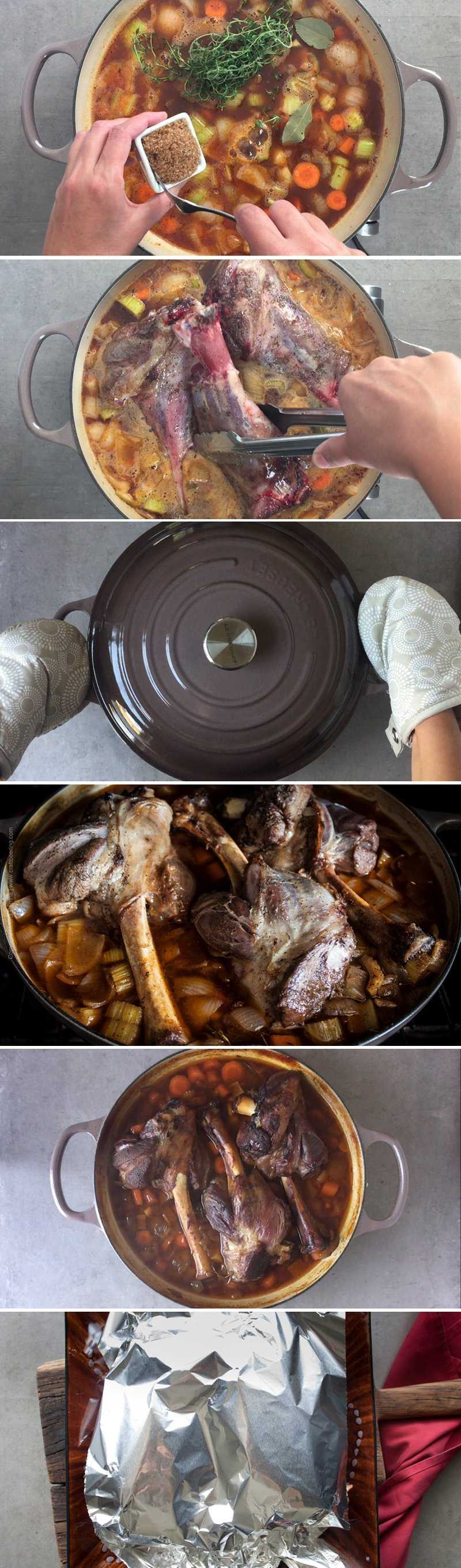 How to braise lamb shanks - step by step.