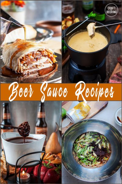 Image grid showing several beer infused sauces - savory and sweet.