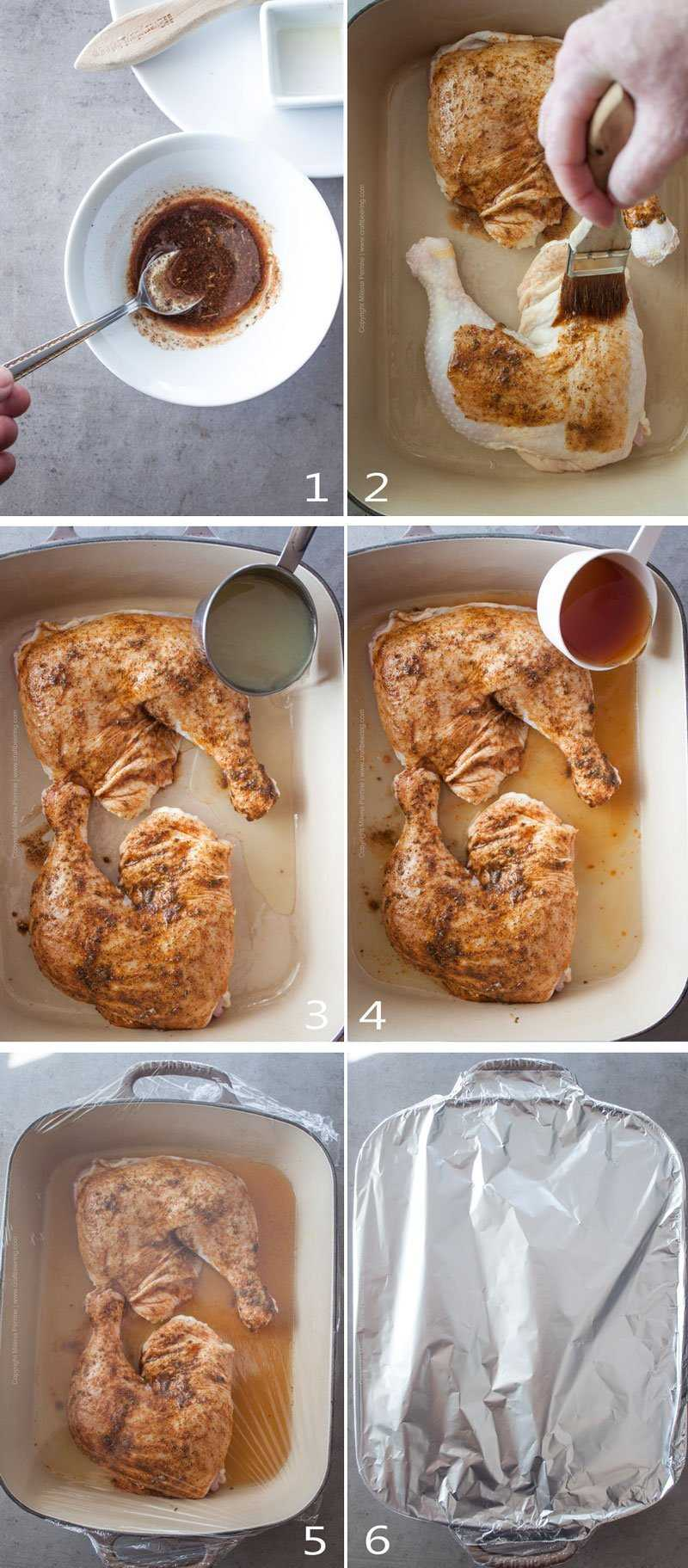 Image grid with steps on how to bake chicken legs and thighs