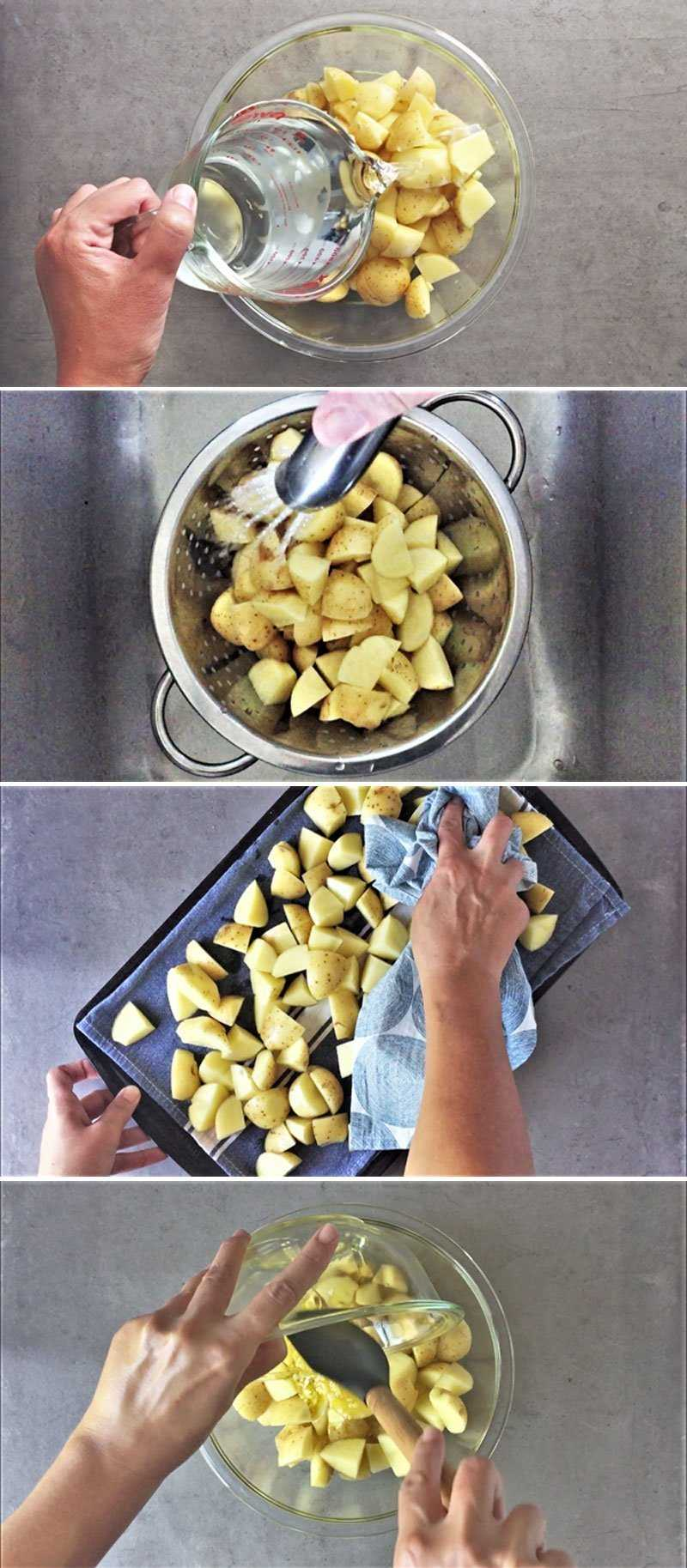 How to roast crispy potatoes with garlic and herbs.