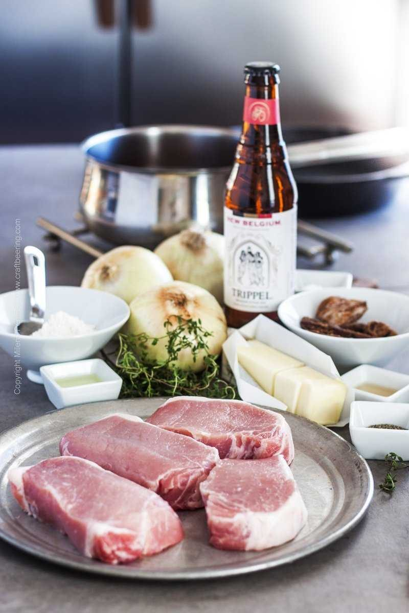 Ingredients for braised pork chops - pork loin chops, onions, butter and cooking oil, Belgian beer and dried figs, flour, thyme, salt and pepper.