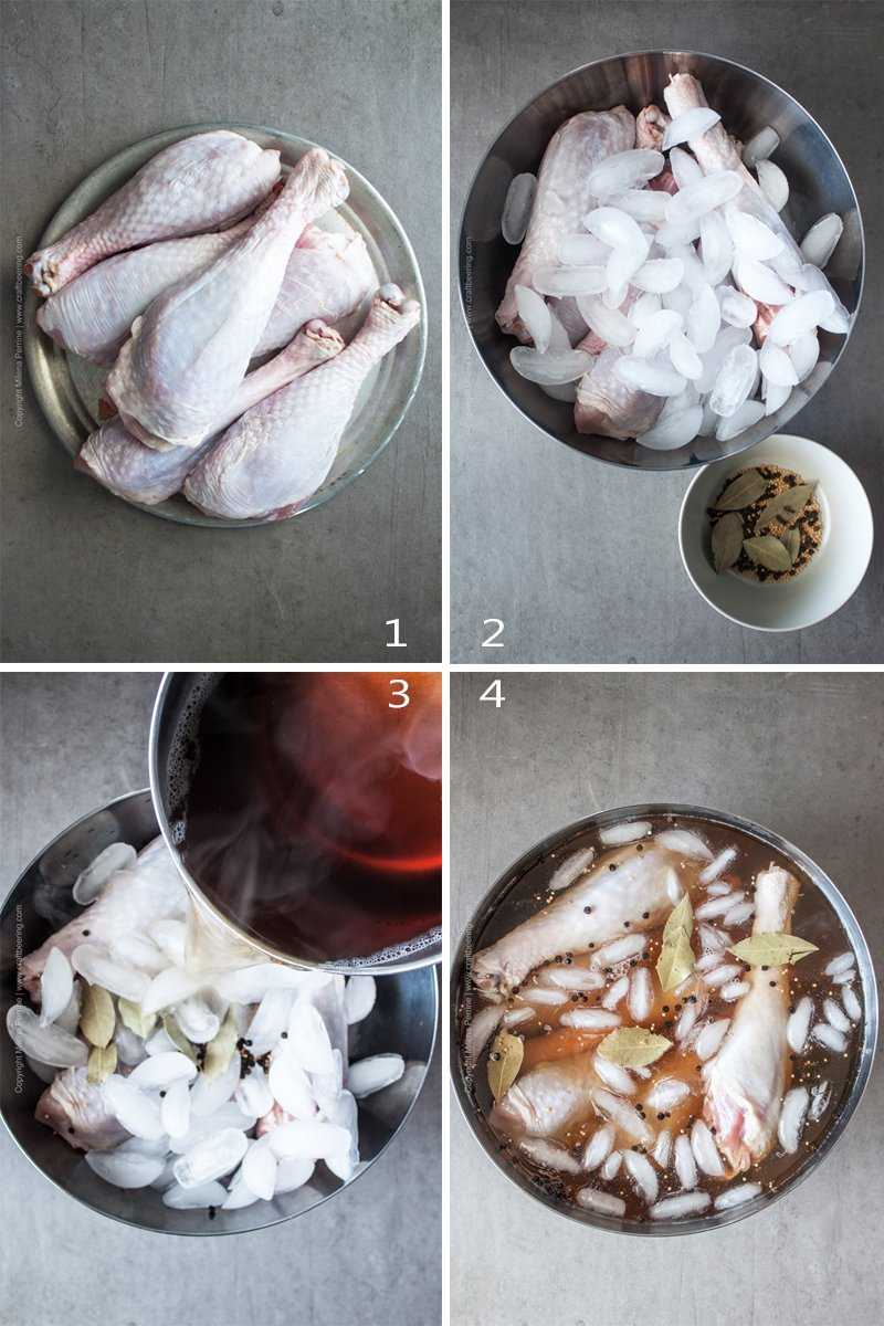 Steps to brine turkey legs (the same process is used for turkey breast or a whole turkey)