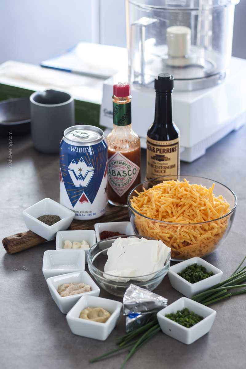 Cheddar pub cheese dip ingredients.