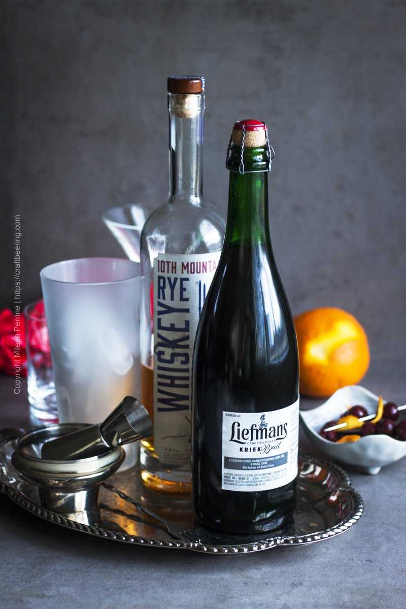 Ingredients for Manhattan drink with Kriek