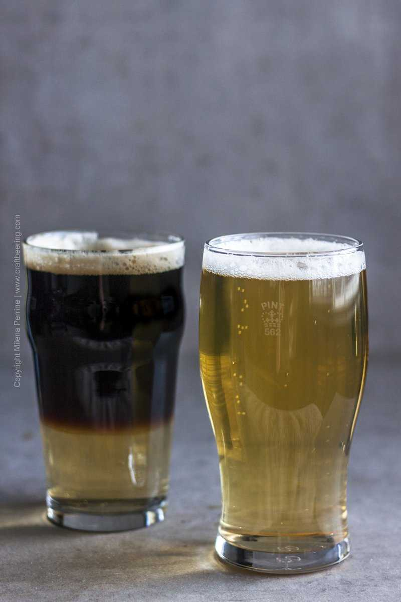 Snakebite cocktails - cider and stout and cider and lager.