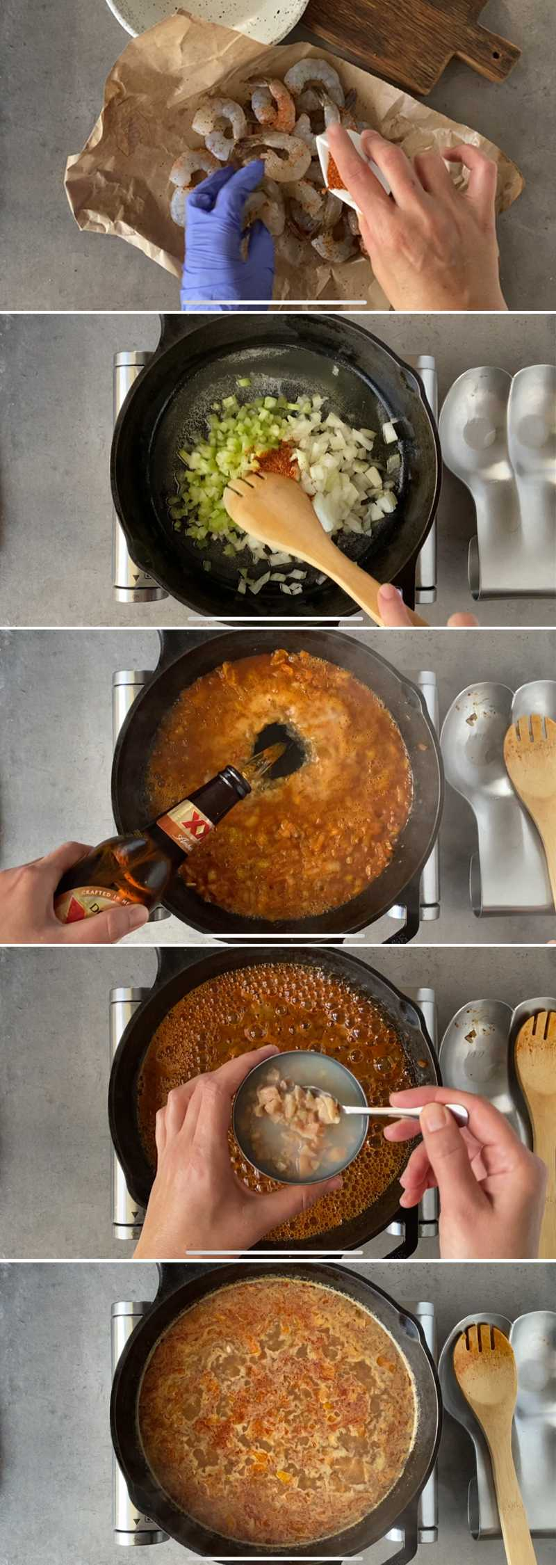 Image grid with step to make spicy shrimp in skillet with beer sauce a la clamato.