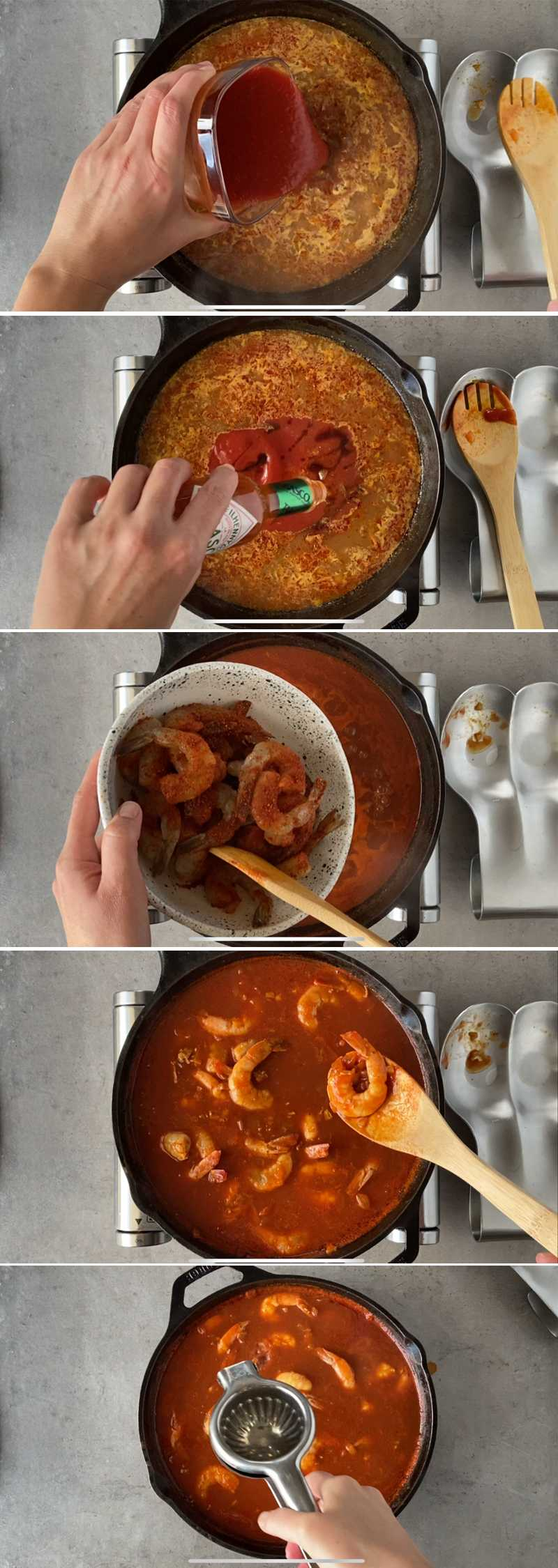 Image grid (part 2) with step to make spicy shrimp in skillet with beer sauce a la clamato.