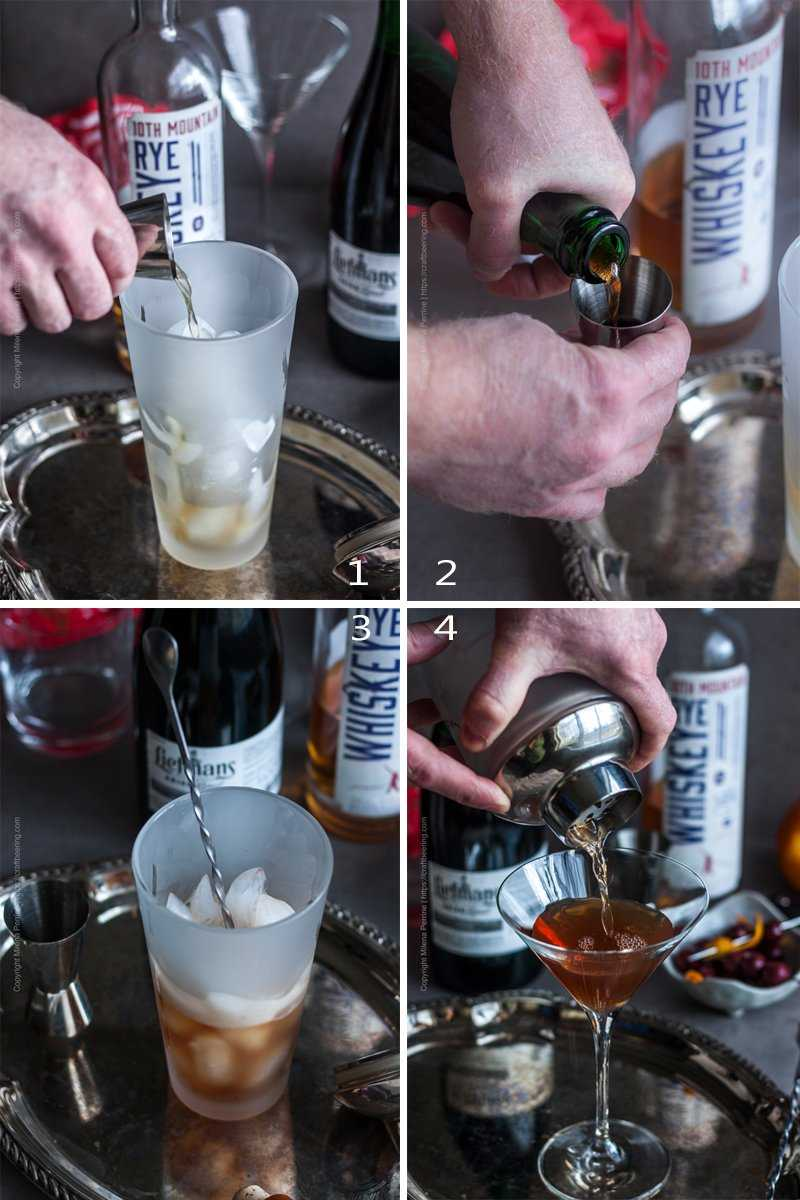 Sequence of steps to mix a Manhattan