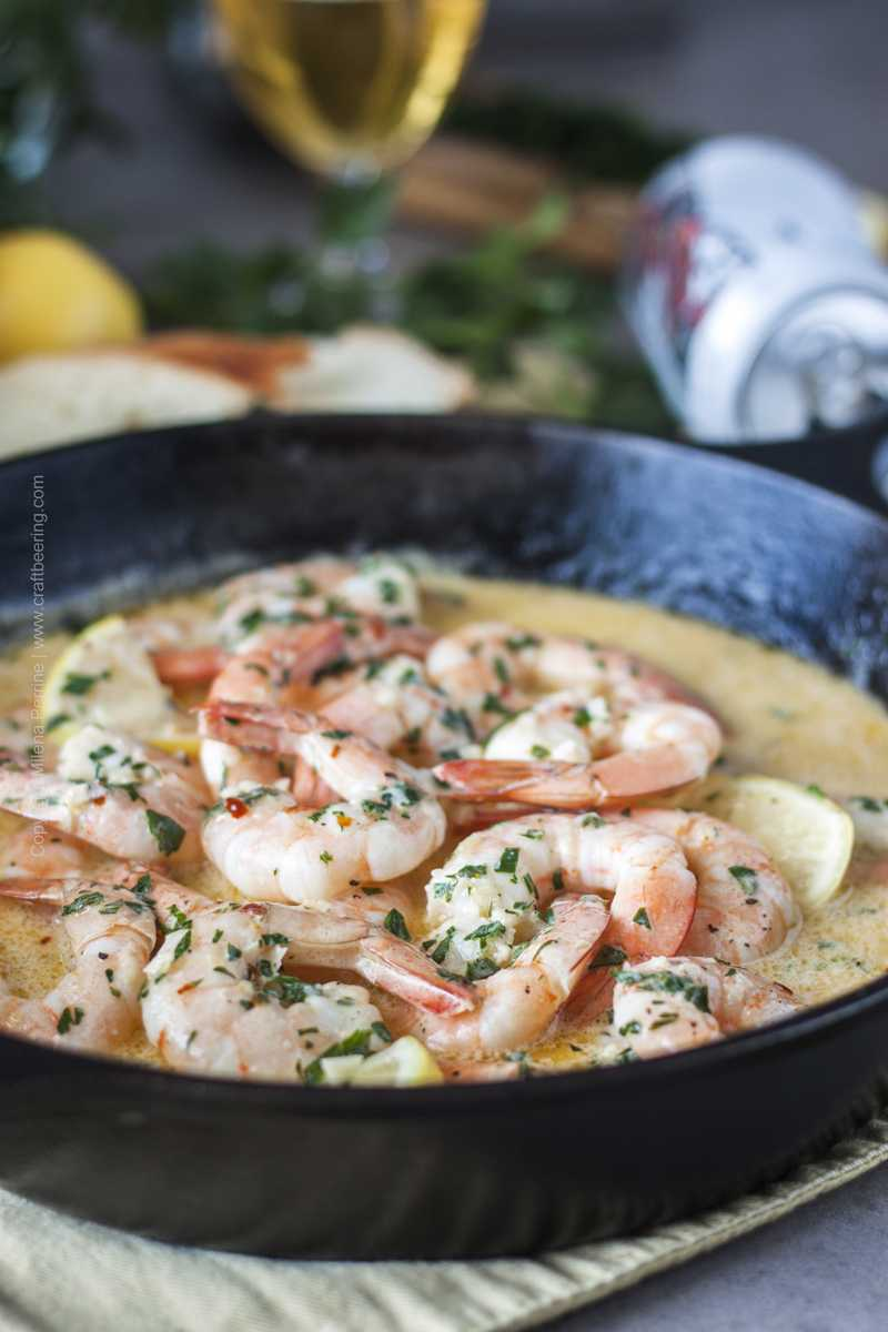 Close up of beer shrimp skillet.