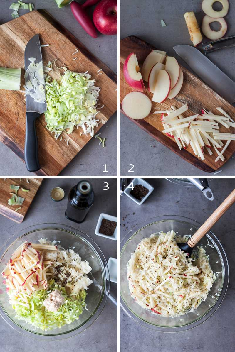 Steps to make sauerkraut salad with leek and apple