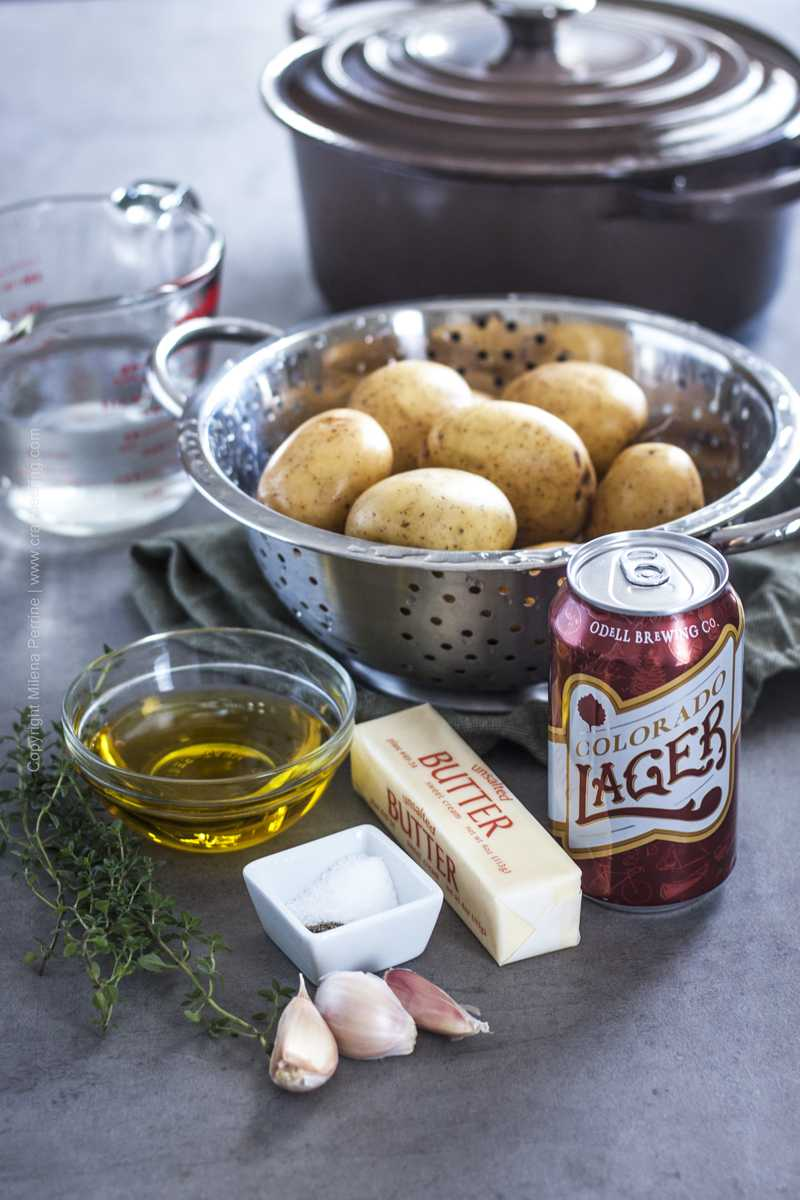 Ingredients for easy one pot beer potatoes with garlic and herbs