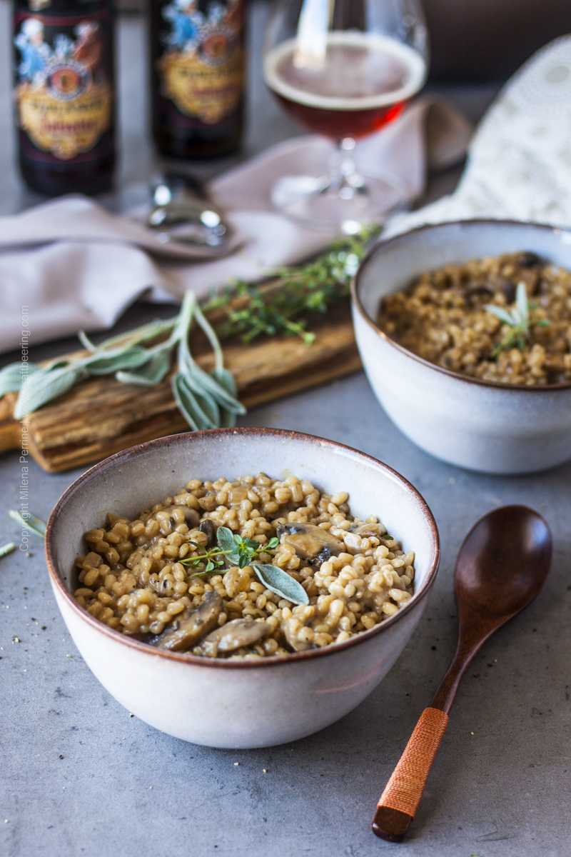 Bowl of orzotto, a hearty barley risotto with mushrooms, sage and thyme.