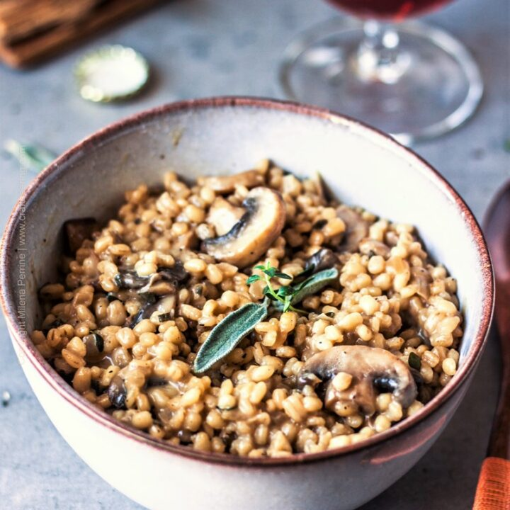 Creamy Orzotto with Mushrooms, Herbs & Dark Beer
