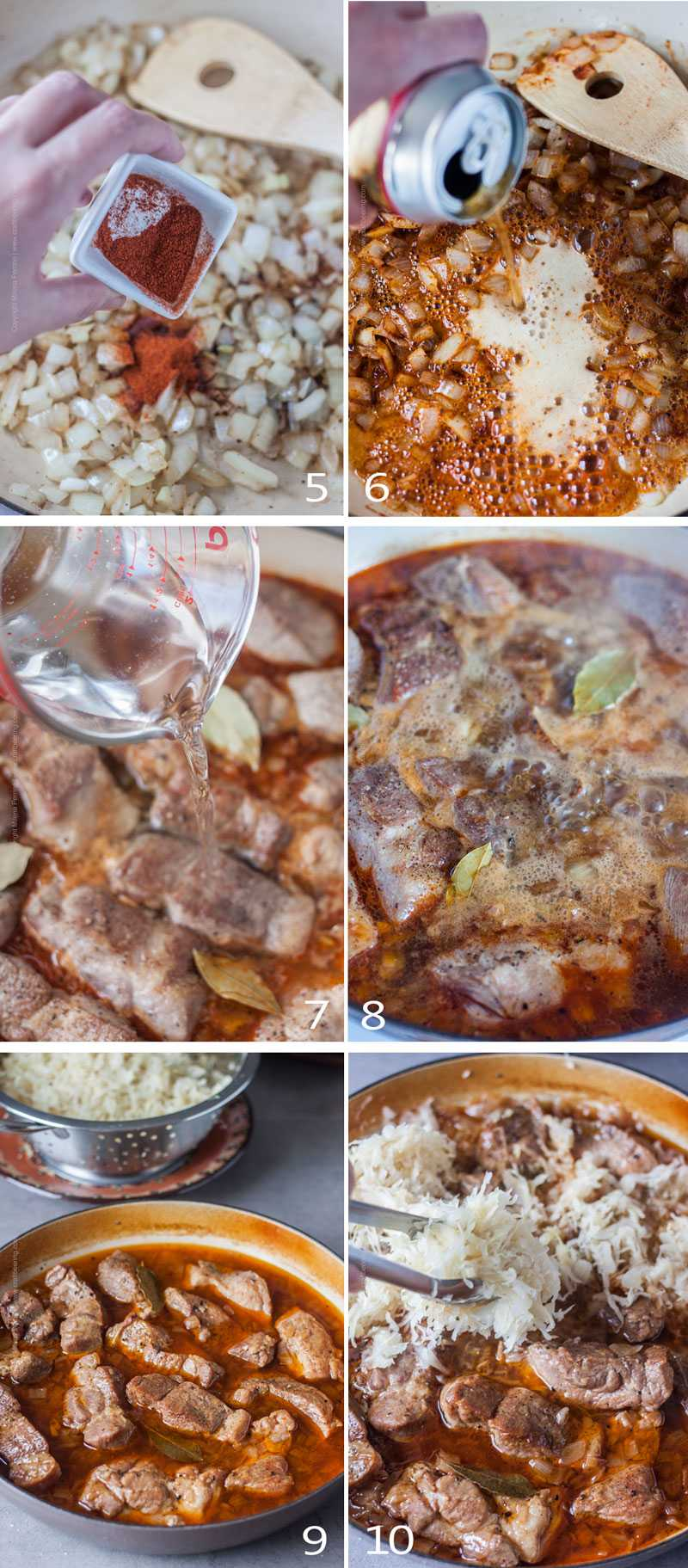 Image grid with steps to cook pork and sauerkraut in the oven 2