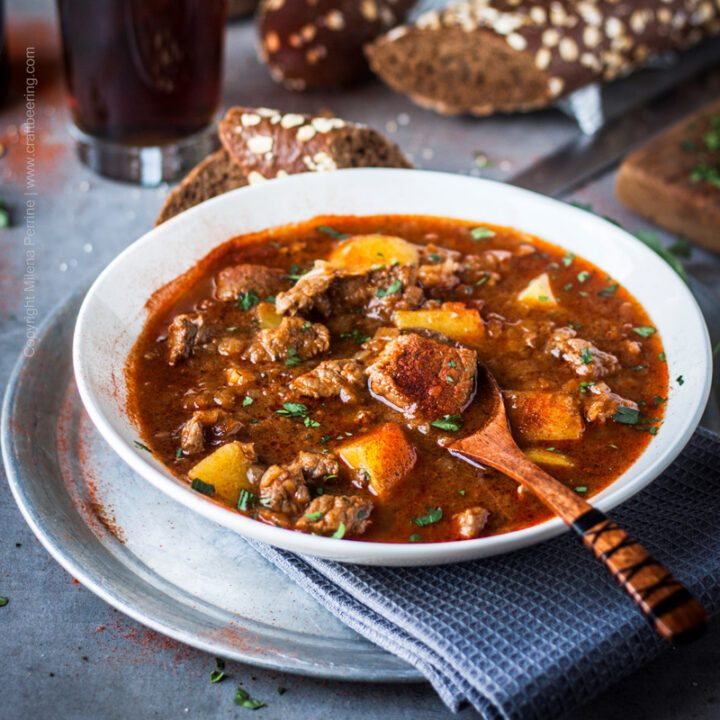 Hearty German beef goulash with paprika, potatoes and dark lager.