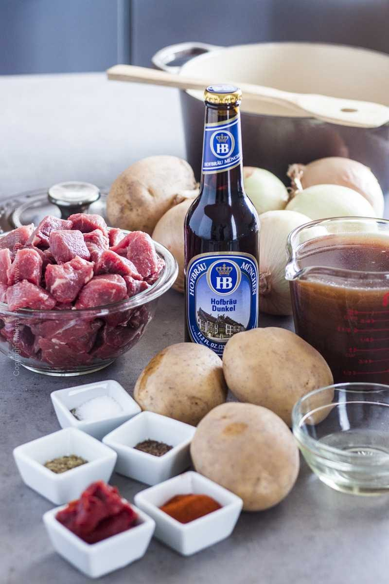 Ingredients for authentic German goulash with beef.