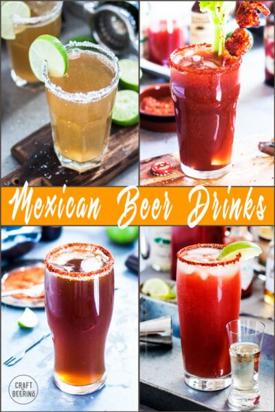Images of popular Mexican beer drinks - Chelada, Michelada, Chavela and Clamato beer