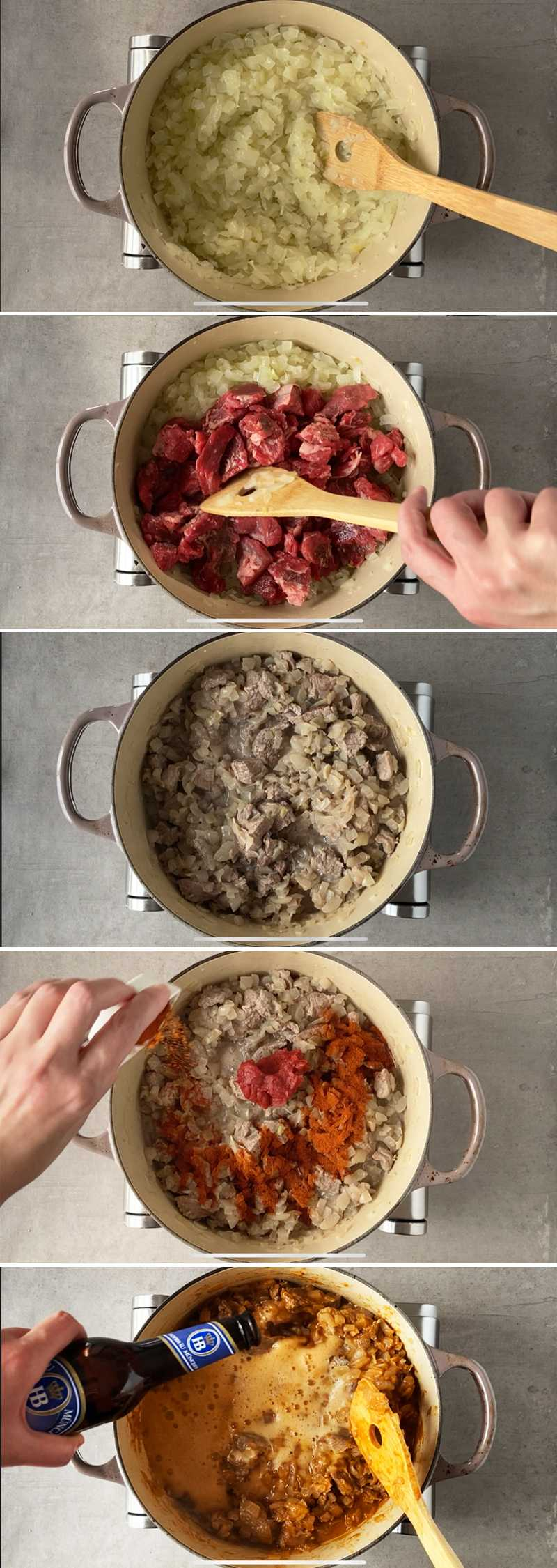How to make German beef goulash with dark beer - step by step picture collage.