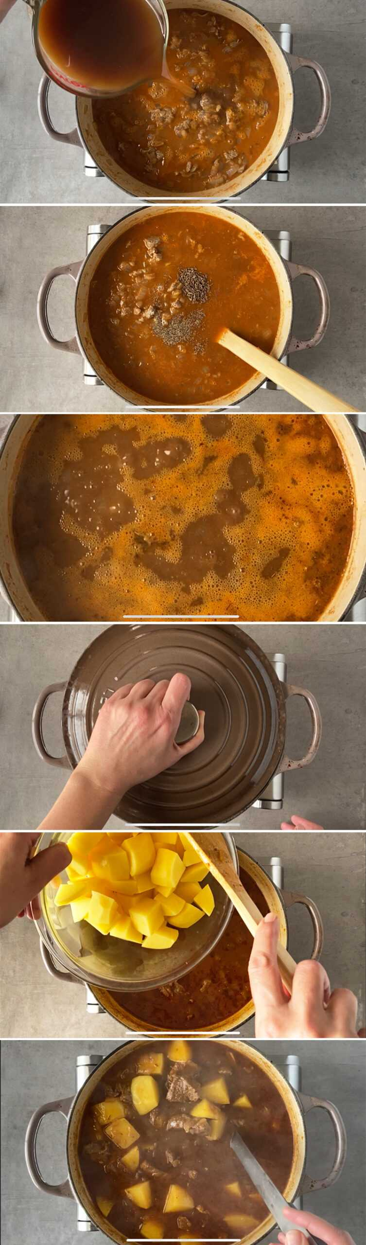 How to make German beef goulash with dark beer - step by step images collage. Part 2.