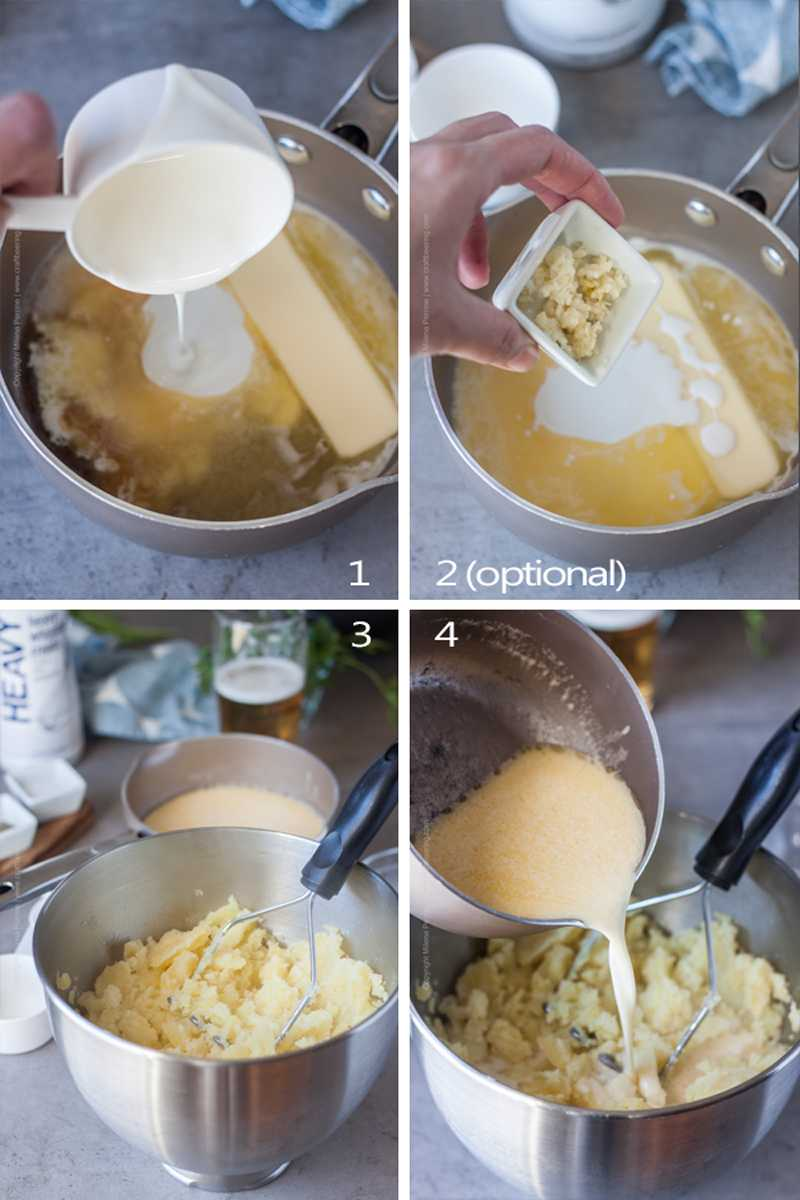 Images showing steps to make beer mashed potatoes.