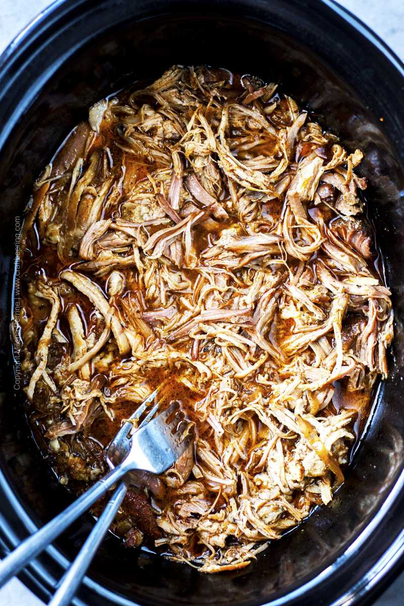 Slow cooker beer pulled pork - overhead shot.