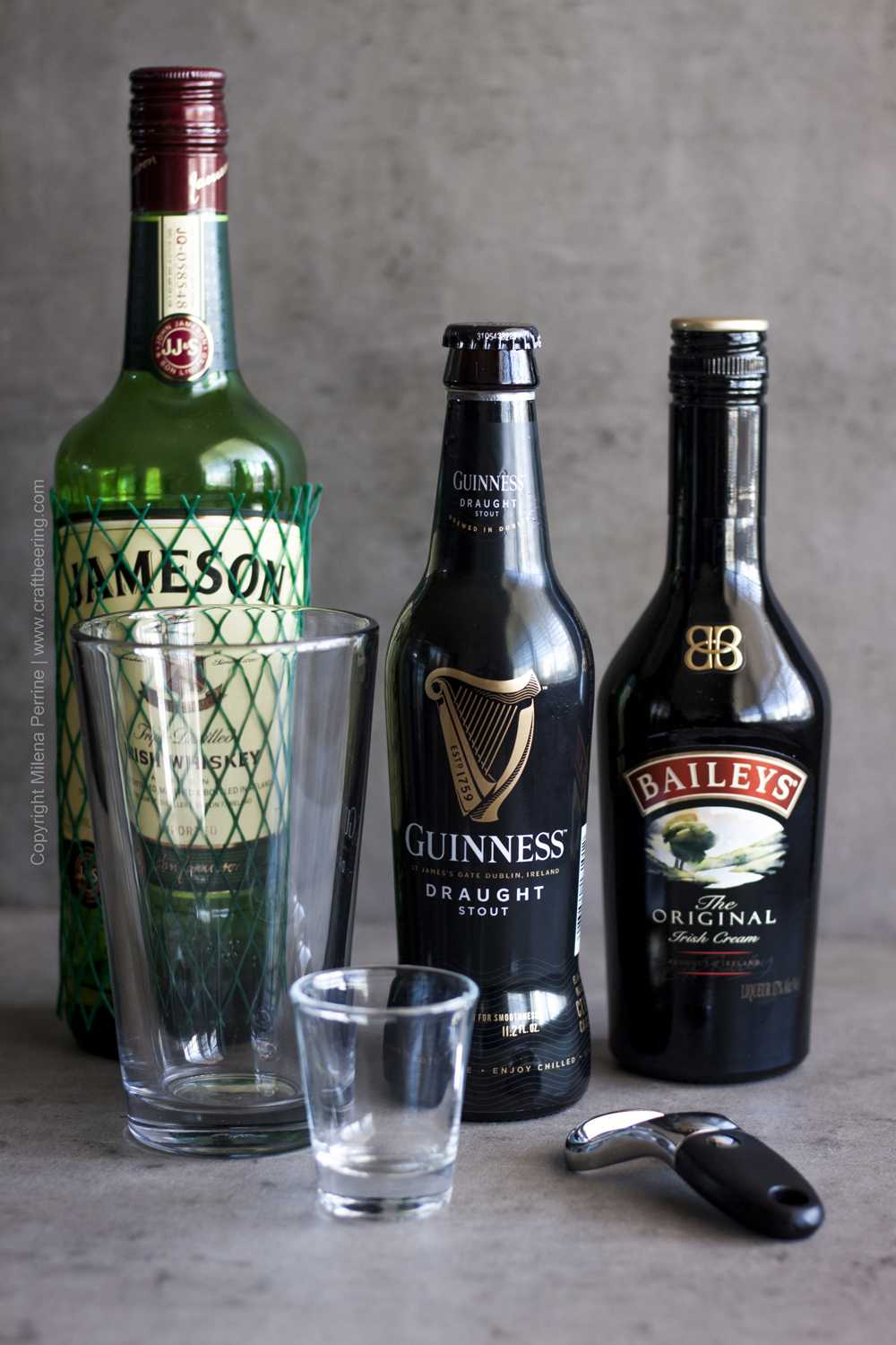 Ingredients and glassware for Irish car bomb cocktail.