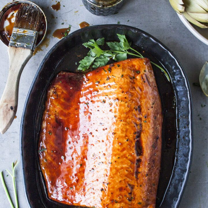 Baked salmon fillet glazed with decadent Irish whiskey sauce.