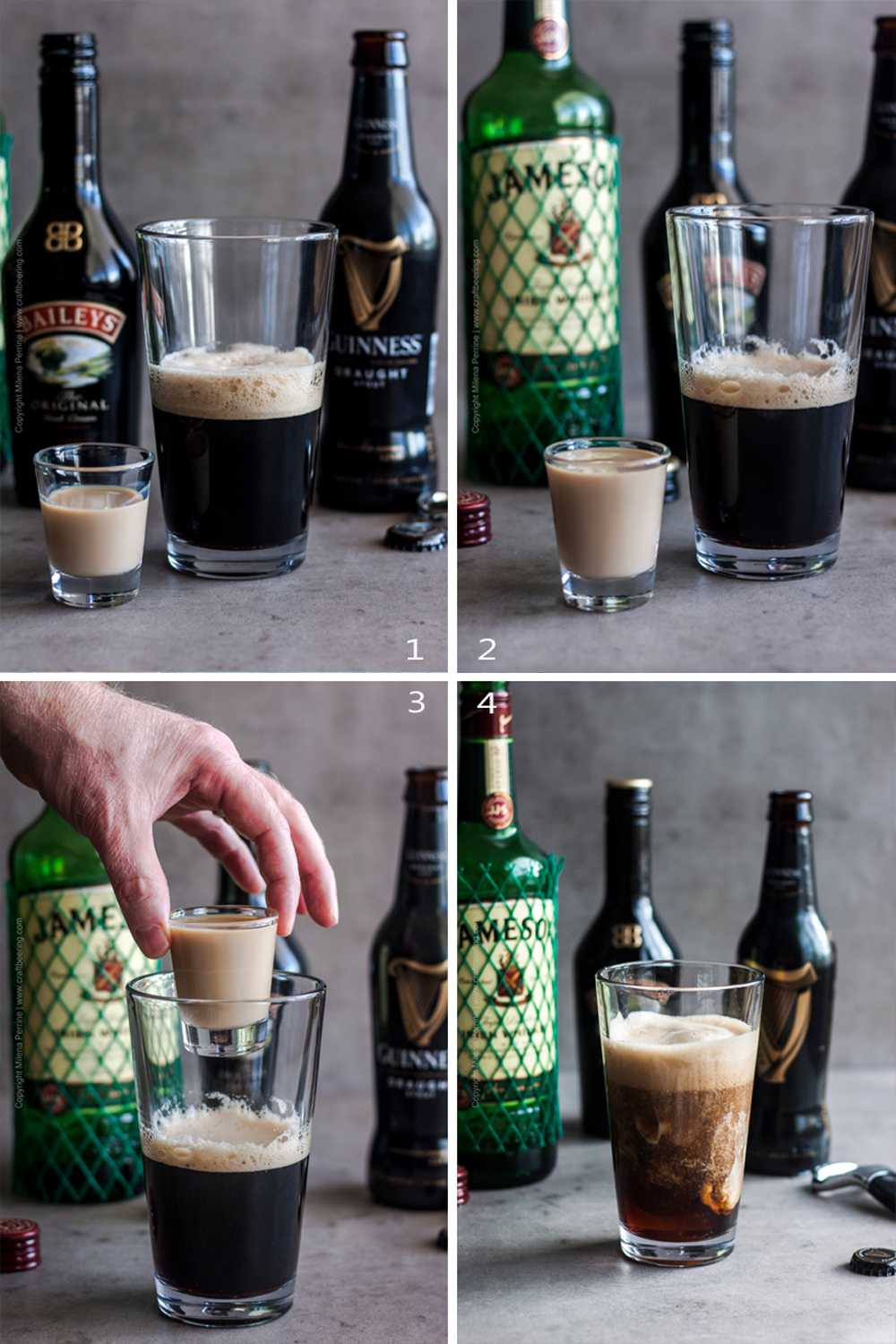 Sequence of steps to mix Irish car bomb drink