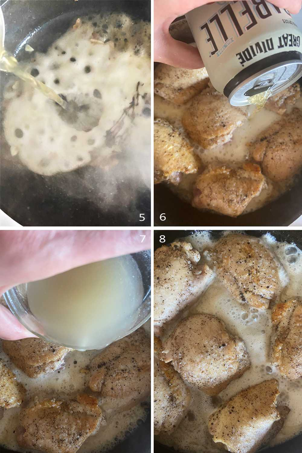 How to cook boneless skinless chicken thighs in pan. Image collage part 2.