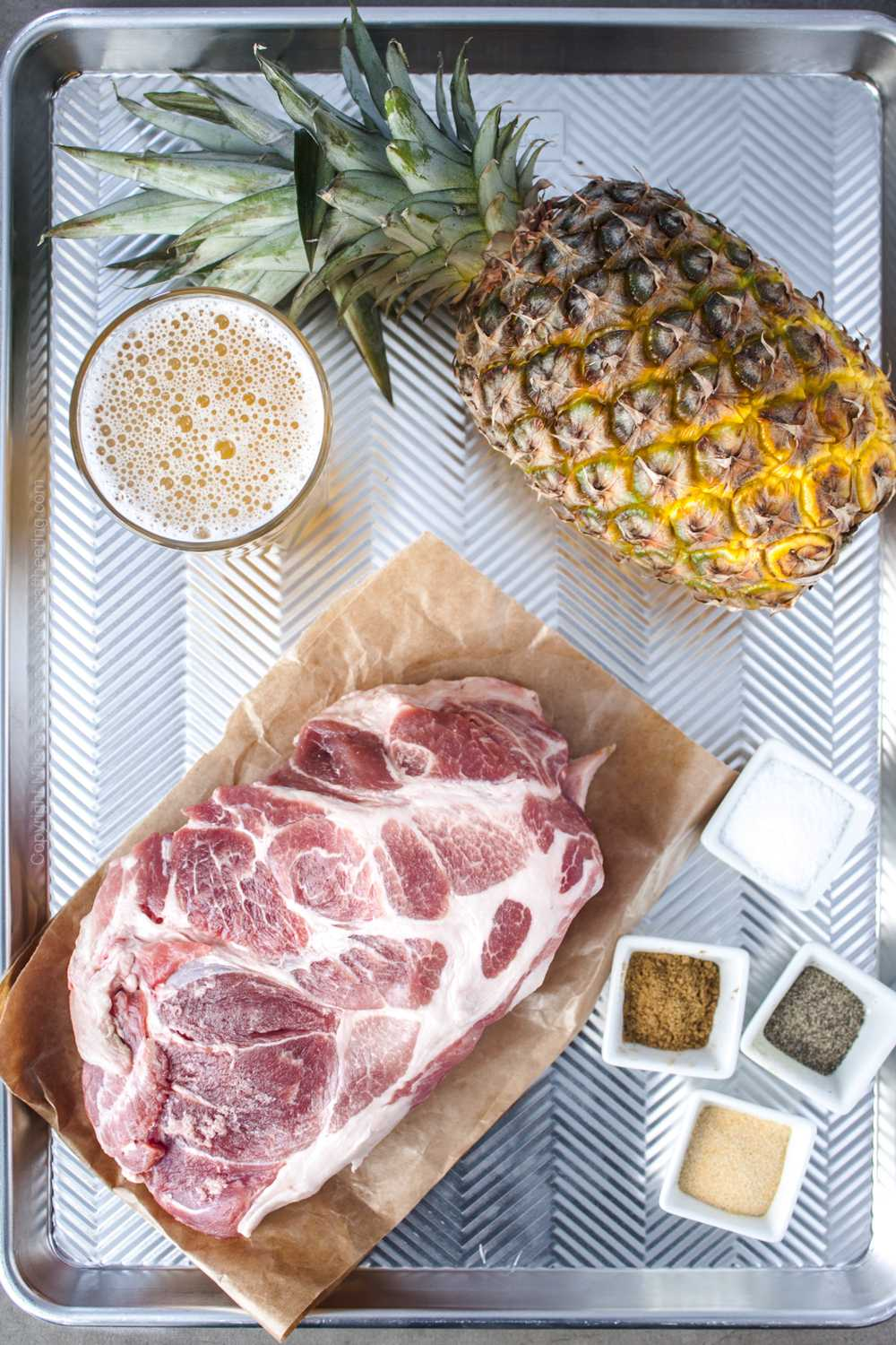 Raw ingredients for pineapple pork.