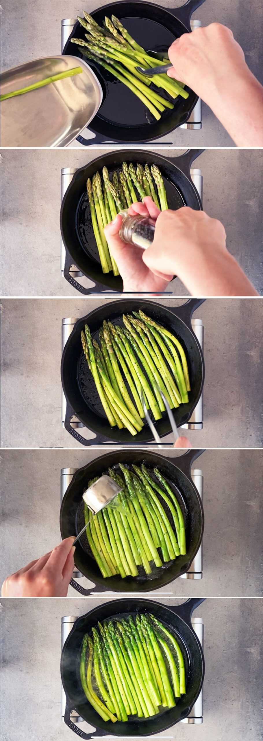 How to cook skillet asparagus, step by step.