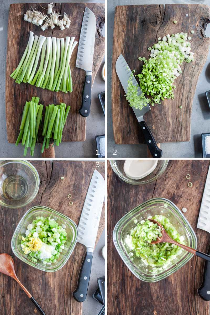 Step by step how to make scallion ginger salsa.