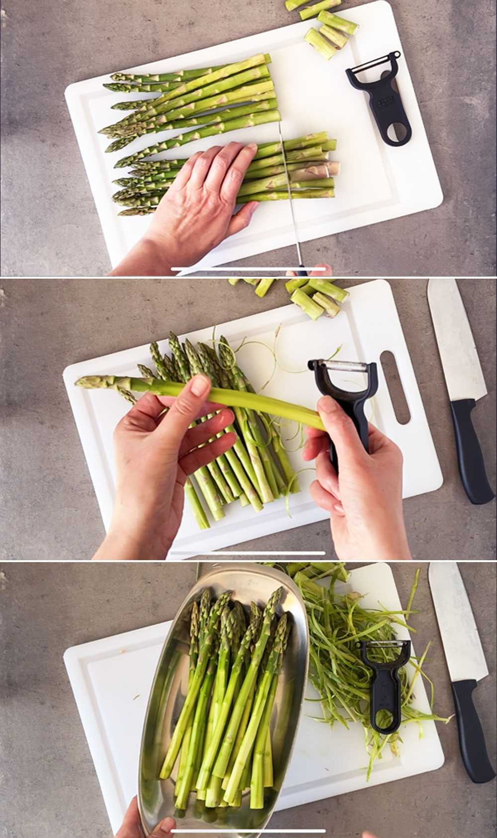 Step by step images showing how to prepare asparagus