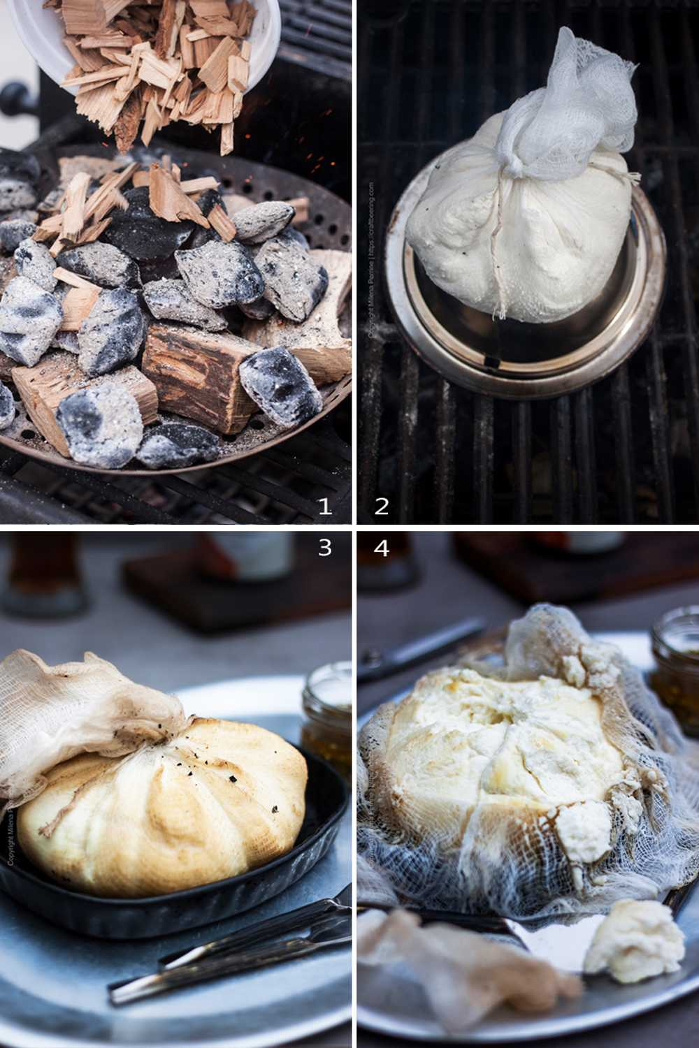 Step by step image grid for how to smoke ricotta cheese.