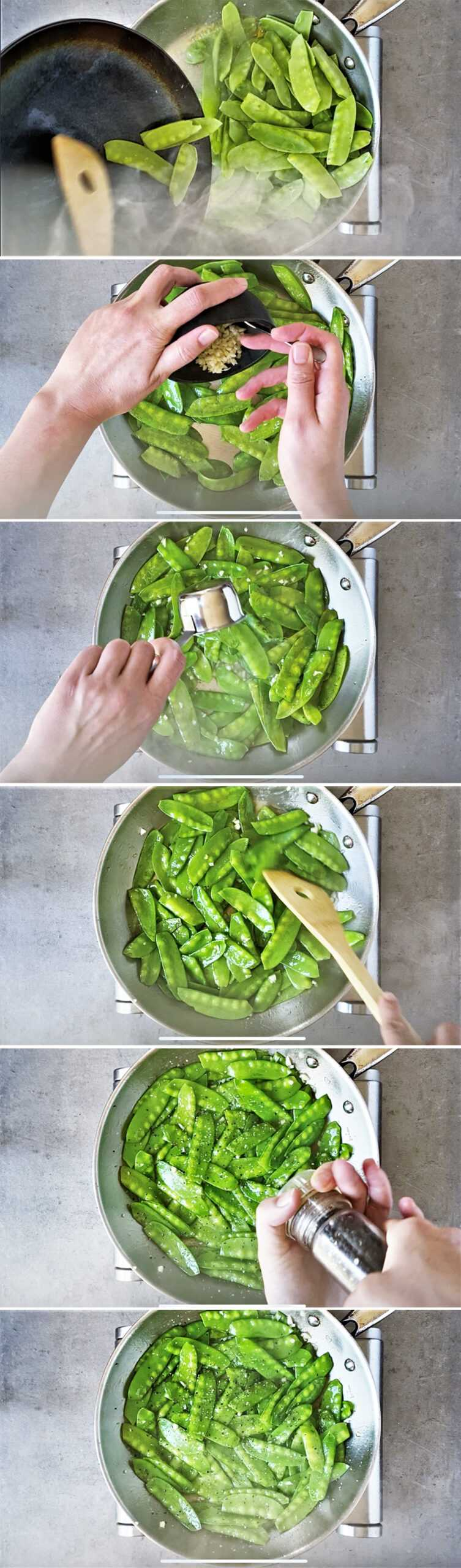 Step by step how to cook snow peas in skillet on stove.