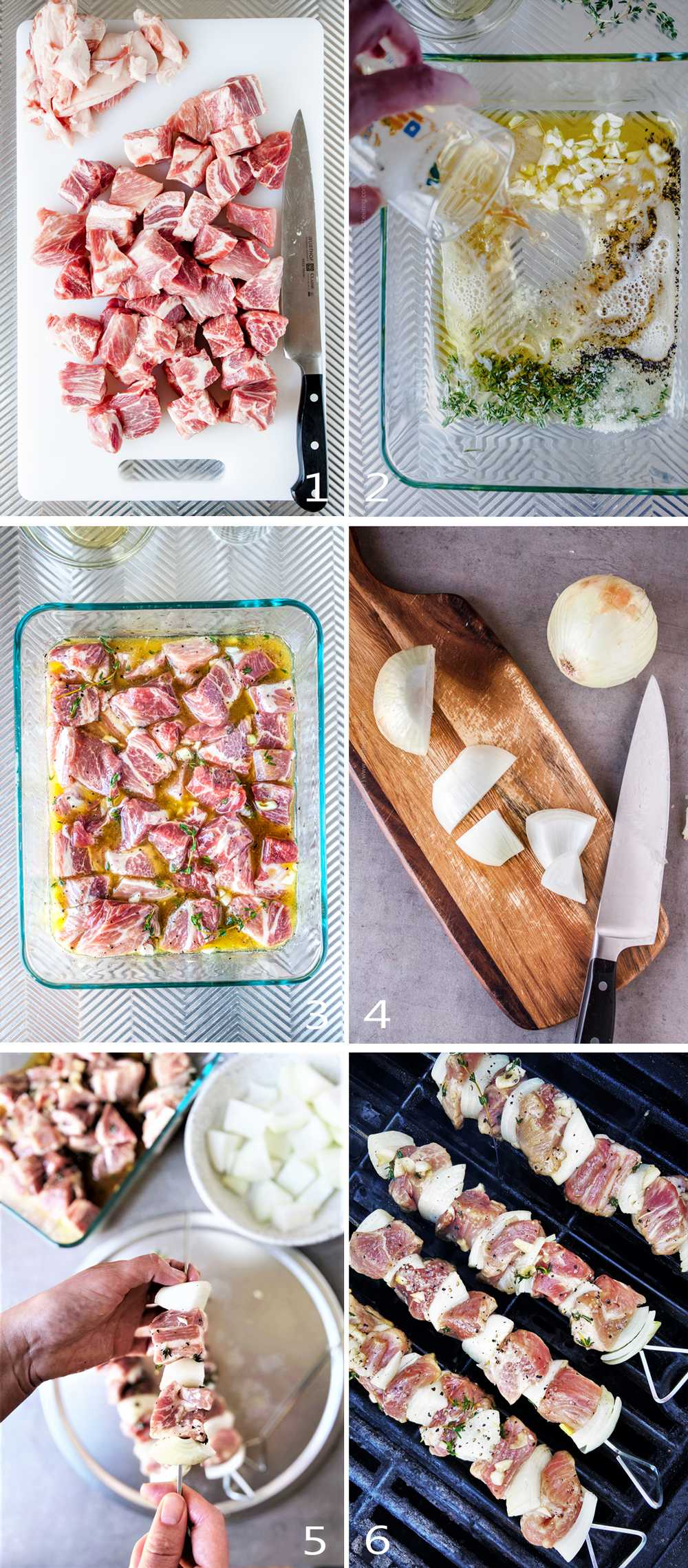How to marinate, thread and grill pork skewers.