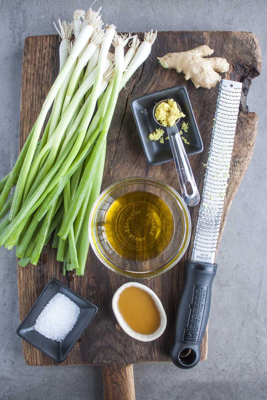 Ingredients for ginger scallion salsa.