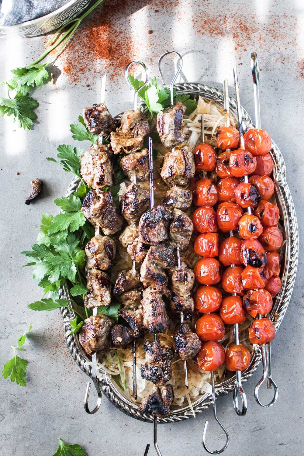 Shish kebab platter, authentic Turkish street food style.