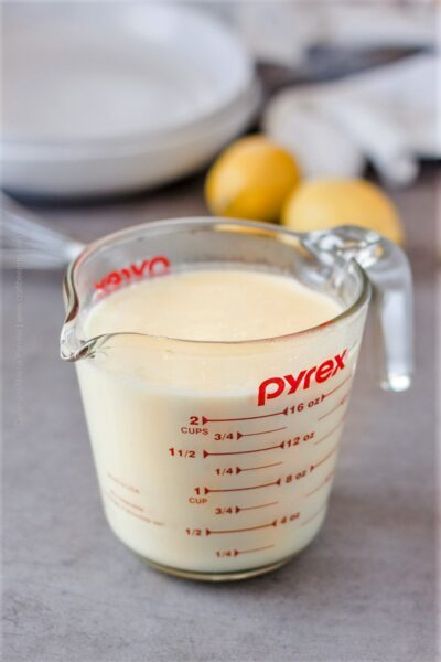 Freshly made lemon cream sauce.