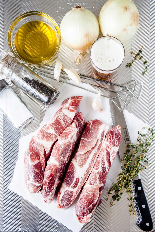 Ingredients for grilled pork skewers