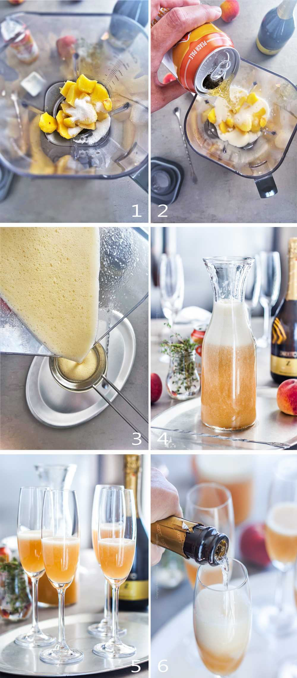 Step by step how to make a peach bellini with fresh peaches.